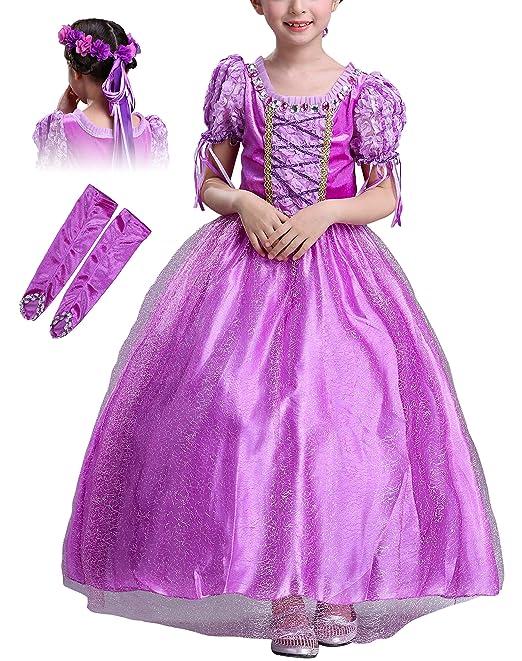 Monissy Niña Vestido de Princesa Rapunzel Manga Corta Tul ...