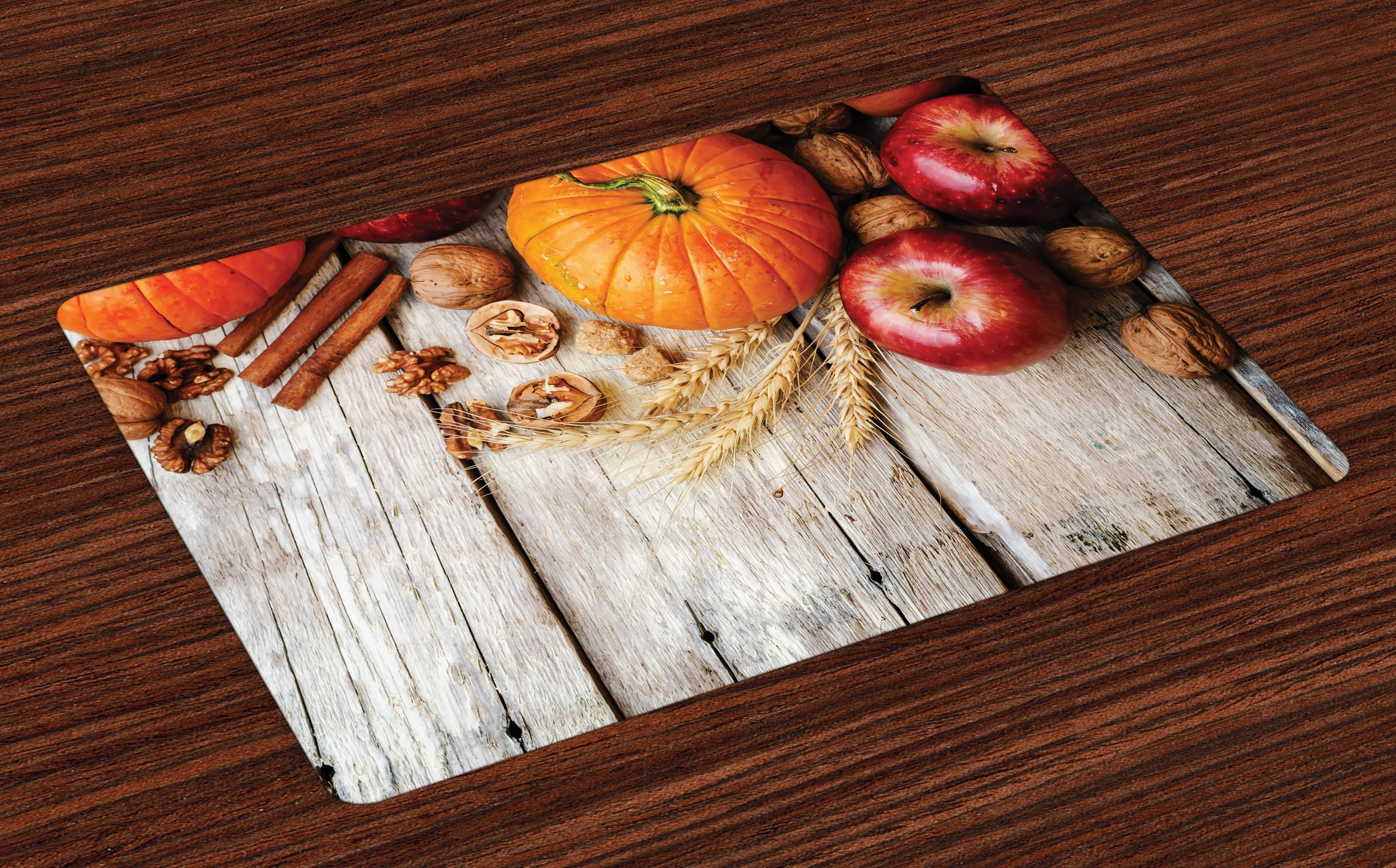 Lunarable Fruits Place Mats Set of 4, Wood Background with Pumpkin Apples Wheat Honey Nuts Farmhouse Rural, Washable Fabric Placemats for Dining Room Kitchen Table Decoration, Pale Brown Orange Red