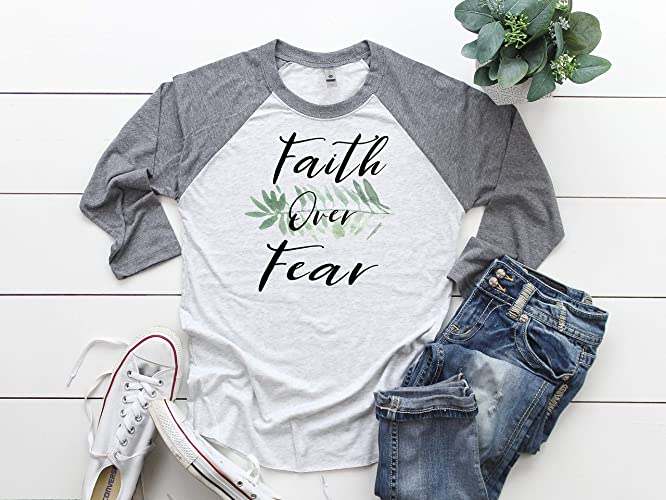 384833ba3 Faith Over Fear, Baseball Raglan Shirt, Christian Faith, Faith Baseball Tee,  Raglan Shirt, Women's Tee, Spiritual Shirt, Inspirational Shirt, ...