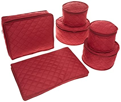 Attractive Quilted China Keepers 6pc. Starter Set  Crimson