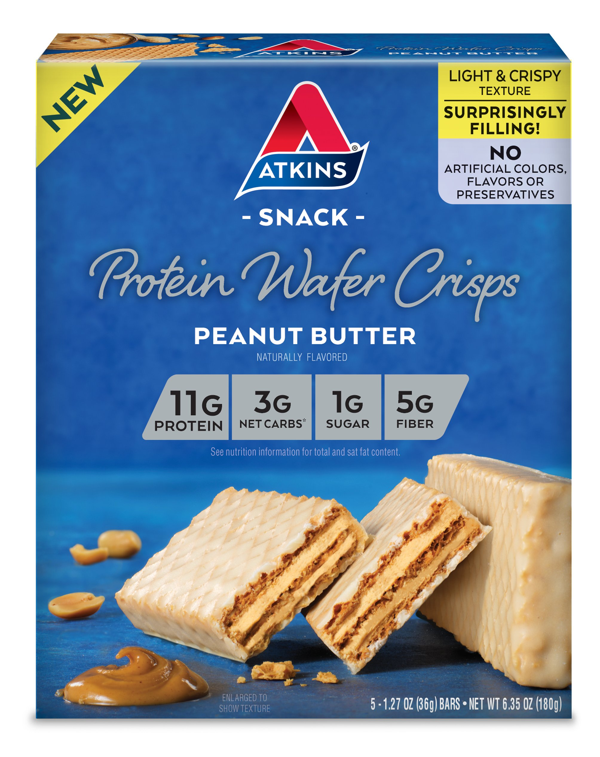 Atkins Protein Wafer Crisps, Peanut Butter, 5 Count