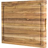 Large Reversible Teak Wood Cutting Board: 18x14x1.25 with Juice Groove (Gift Box Included) by Sonder LA