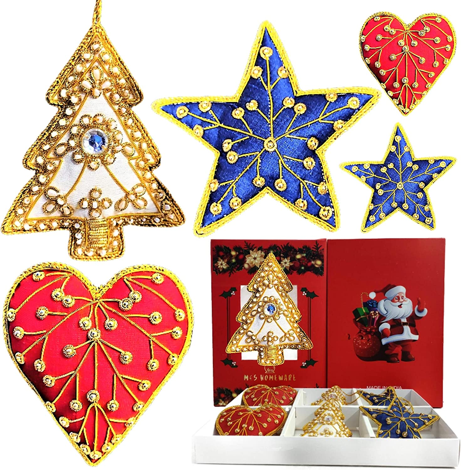 M&S Homeware Christmas Decorative Ornaments - Assorted Set of 6 Red Blue Off-White Handmade Embroidered Christmas Hangings - Christmas Décor Secret Santa Gift Ideas - Christmas Wreath Add on Pendants