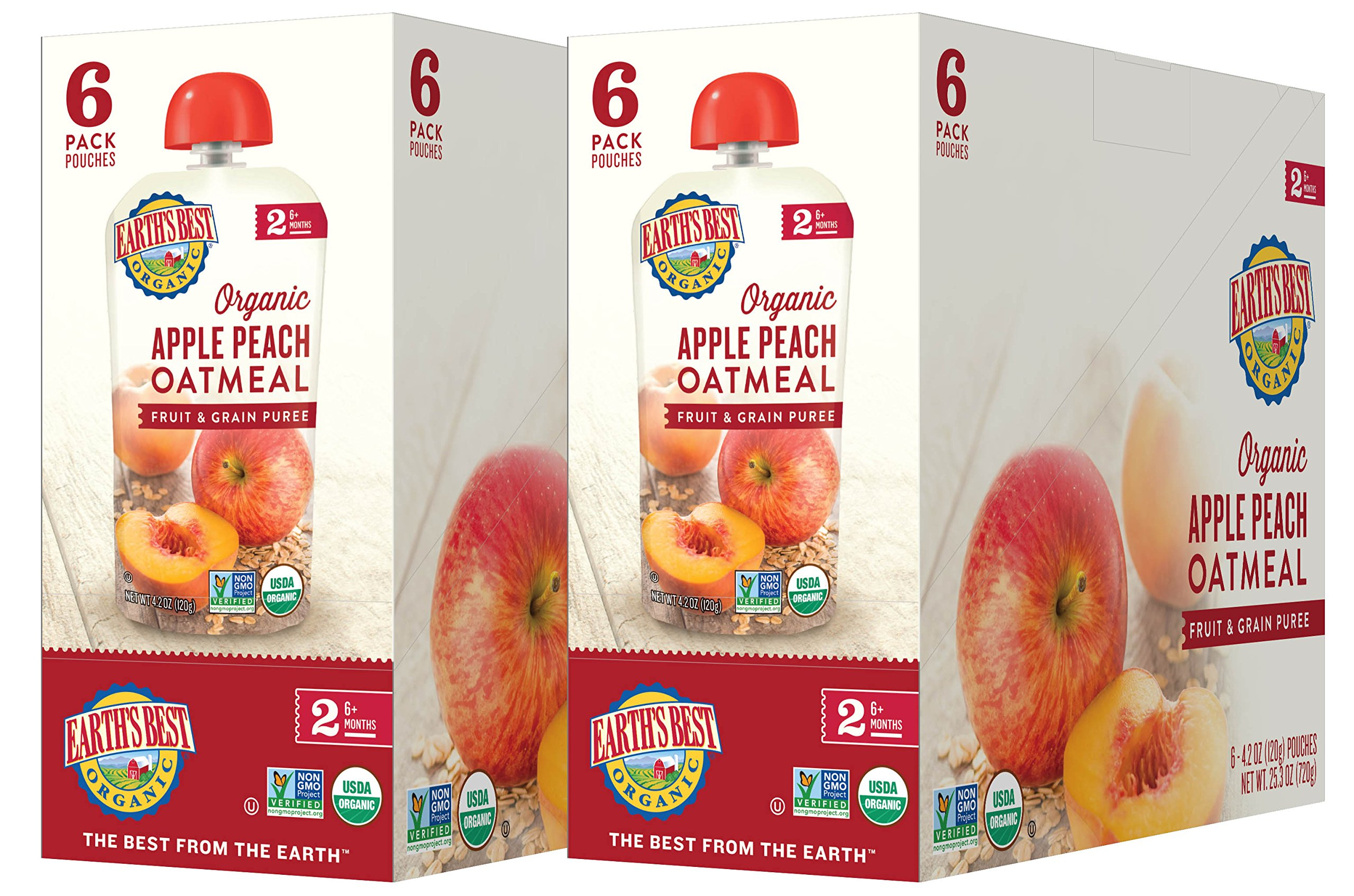 Earth's Best Organic Stage 2 Baby Food, Apple Peach and Oatmeal, 4.2 oz. Pouch (Pack of 12) by Earth's Best (Image #7)
