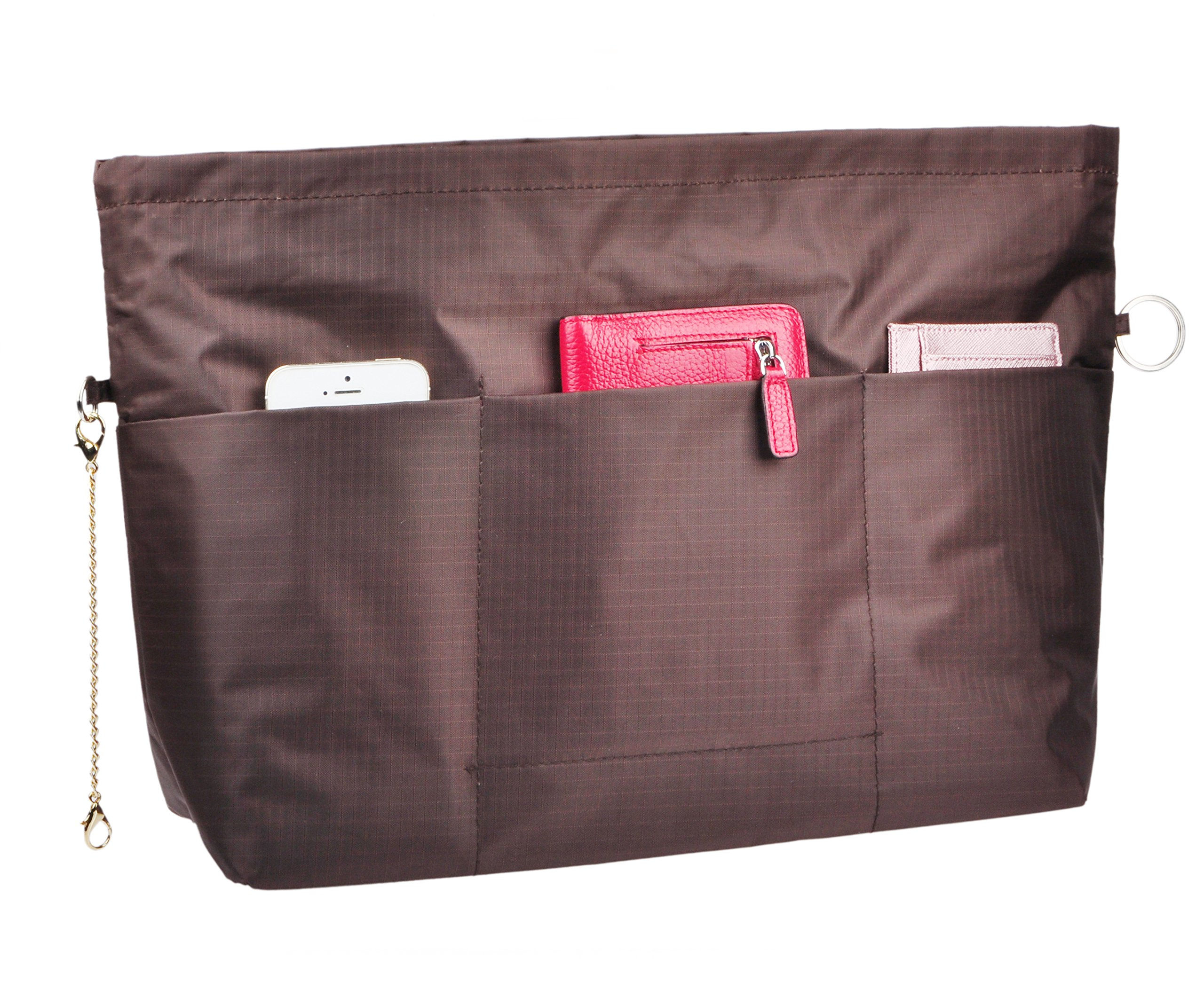 Vercord Handbag Purse Bag Insert Organizers Extra Thick Large Travel Handbag Organizer, Coffee