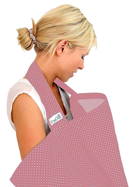 BebeChic * Qualité Supérieure 100 % Coton * Couverture d'Allaitement * Désossage Rigide - avec Sac de Rangement - rose à pois blancs BebeChic Limited pinkpin03