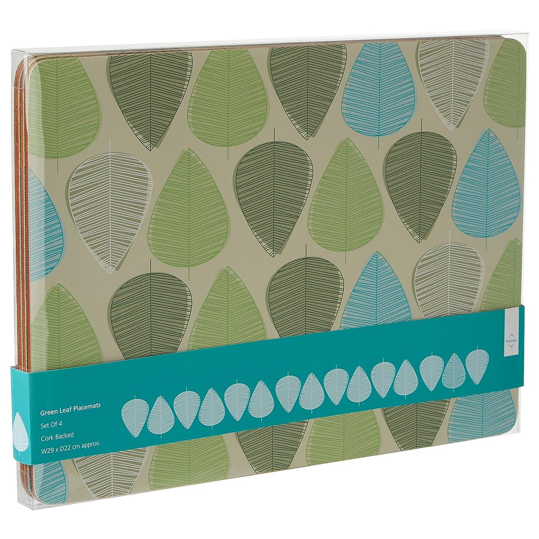 Premier Housewares Green Leaf Tischsets 4er Set Kork
