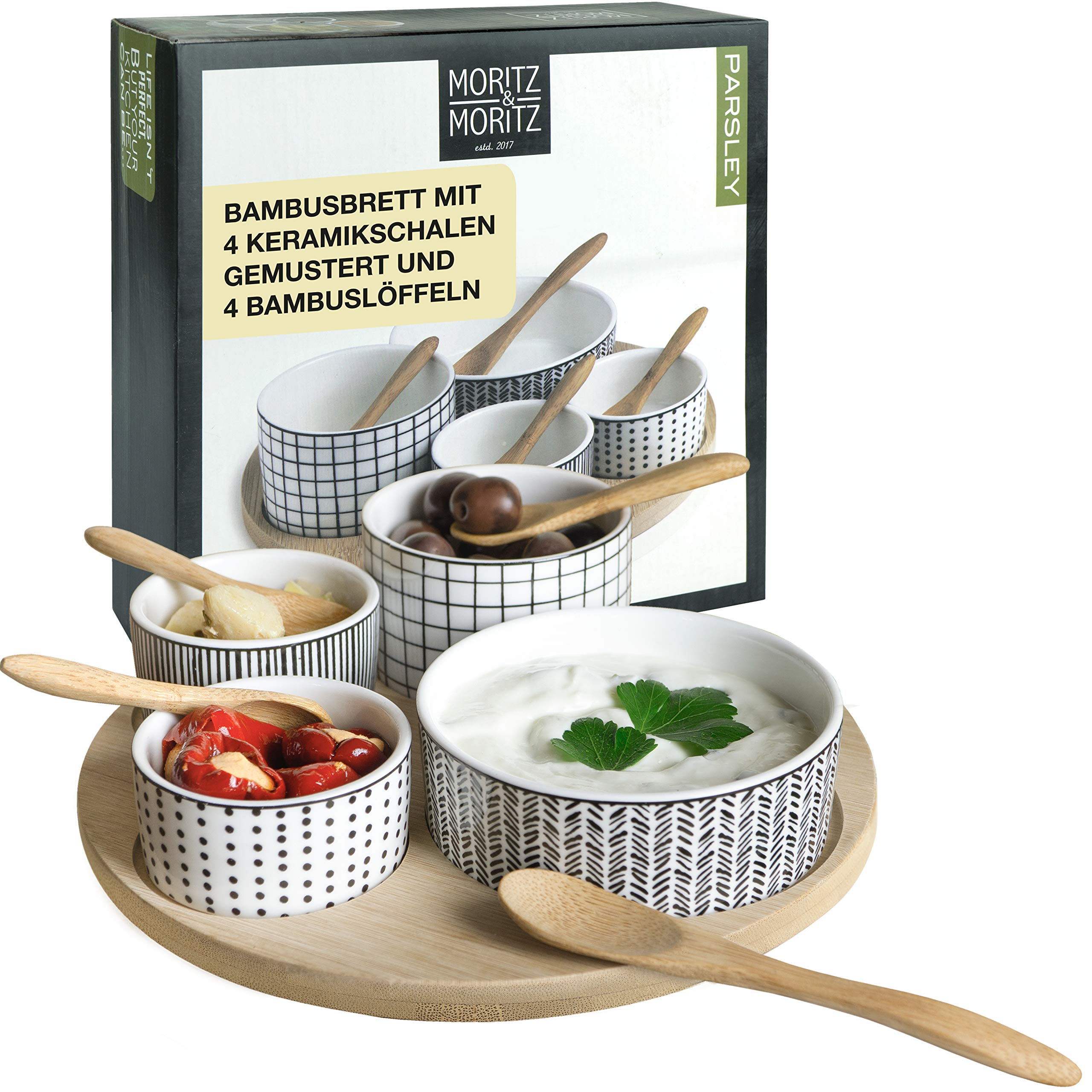 Moritz & Moritz Serving Platters Set - Bamboo Tray with White Ceramic Bowls and Spoons - for Dips Snacks and Starters