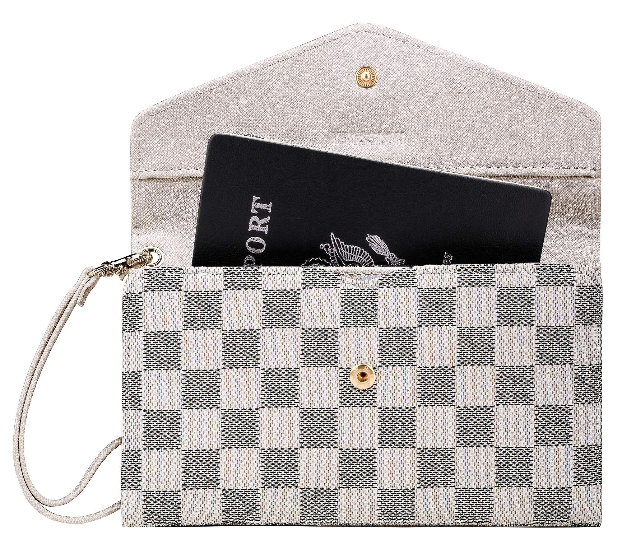 Krosslon Rfid Travel Passport Wallet for Women Slim Holder Wristlet Document Organizer (14# White Checker)