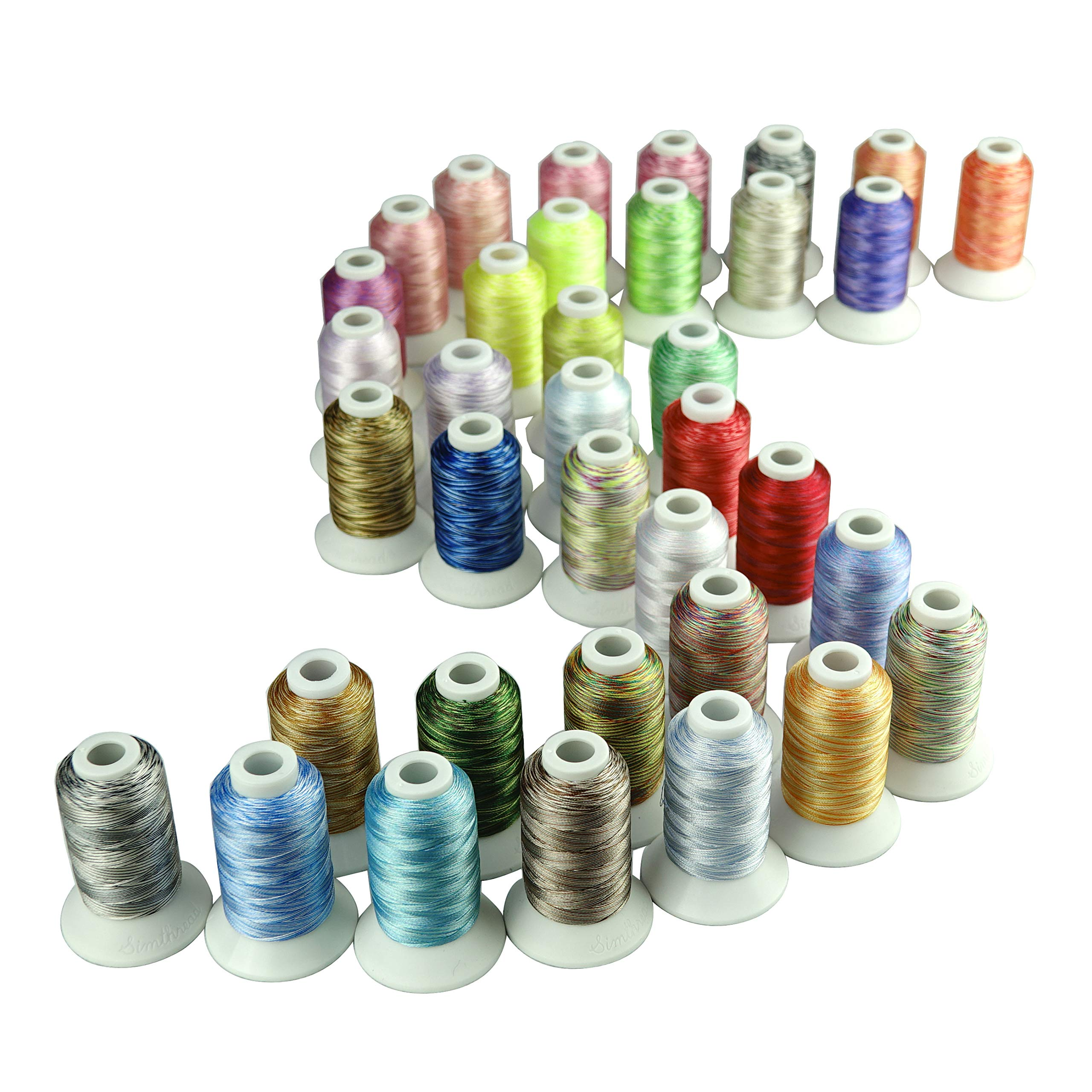 Simthread 5 Options Embroidery Machine Thread Variegated Colors Multi Colors 12 Colors Per Set 550 Yards for Brother Janome Babylock Singer Pfaff Bernina Embroidery and Sewing Machines (36CVA) by Simthread