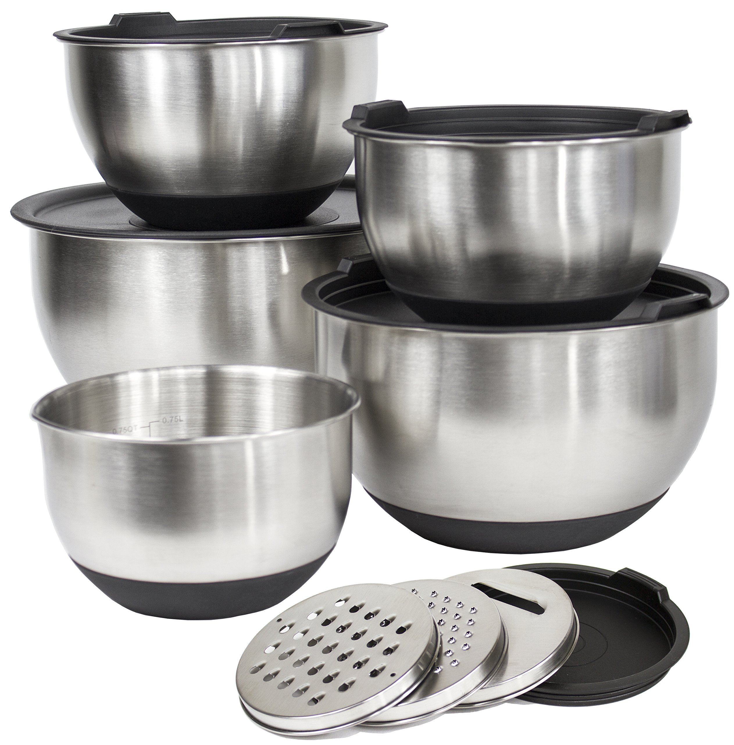 [Deluxe Set] 5 Premium Grade Stainless Steel Mixing Bowl Set with Lids and Non Skid Bottoms Stainless Steel Mixing Bowls with Pour Spout, Measurement Marks, and 3 Grater Attachments by Misc Home