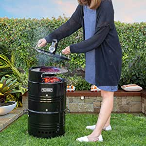 Barton Multi-Function Barrel Pit Charcoal Barbecue Smoker Grill BBQ, Pizza Oven, Table & Fire Pit Grilling -Black
