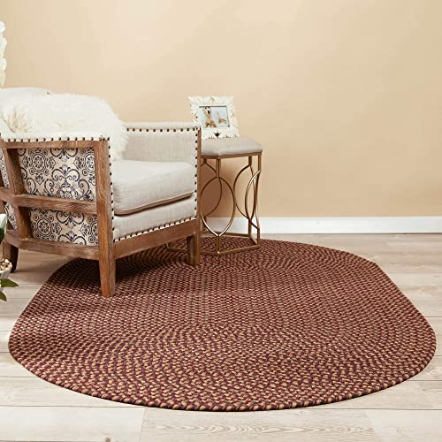Super Area Rugs 4 x 6 Oval Braided Rug Sanibel Indoor Outdoor SN46 Garnet Tweed Braided Carpet for High Traffic Kitchen