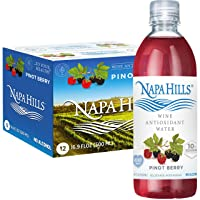 Napa Hills Wine Antioxidant Water - Berry Flavored Wine Water, Non-Alcoholic Resveratrol Enriched Drink - Pinot Berry 12 Pack - No Wine Taste, No Carbs, No Calories, Sugar Free