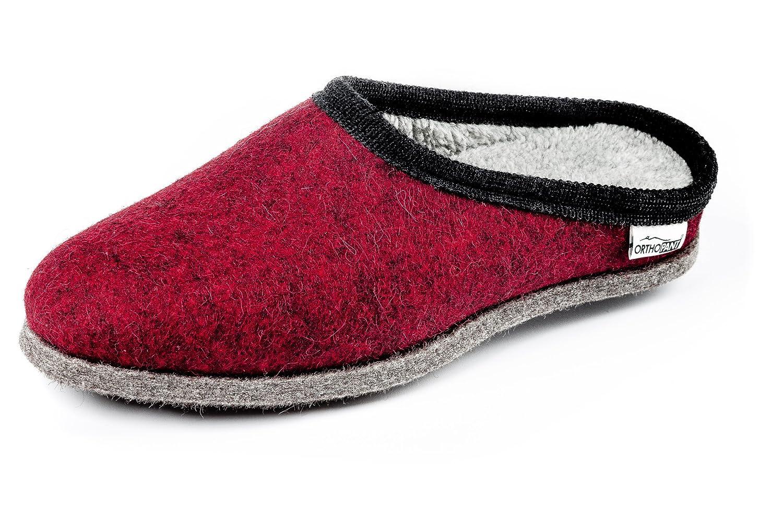 OrthopantBaita - Pantuflas Mujer 36|Rot mit schwarzer Borte