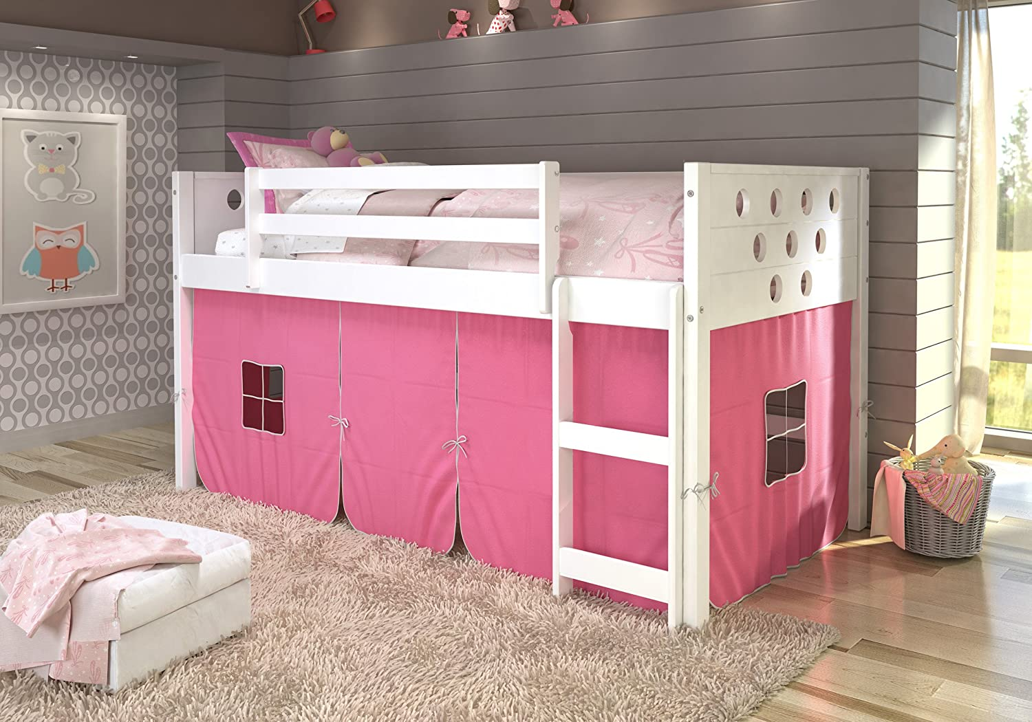 DONCO KIDS 780ATW_750C-TP Circles Low Loft Bed Pink Tent, Twin, White