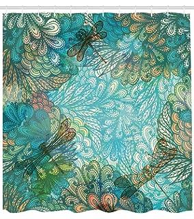 ABAKUHAUS Libélula Cortina de Baño, Flores de Fantasía en Varios Tonos Estampa Shabby Chic Belleza Femenina,…