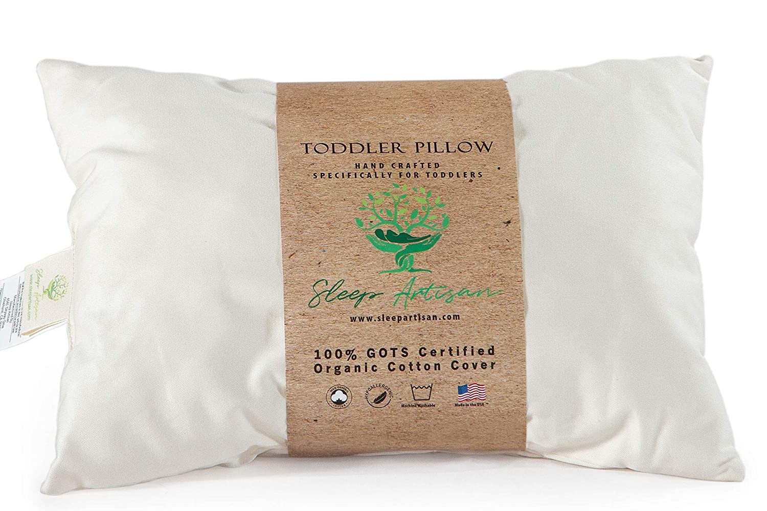 Toddler Pillow for Sleeping - GOTS Certified Organic Cotton Cover, Machine Washable and Hypoallergenic, 13' x 18' Small Pillow for Travel - Made in USA by Sleep Artisan 13 x 18 Small Pillow for Travel - Made in USA by Sleep Artisan Sleeping Pure