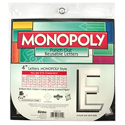 Eureka Back to School Monopoly Punch Out Deco Letters Classroom Decorations, 212pc, 4'' : Childrens Paper Craft Kits : Office Products