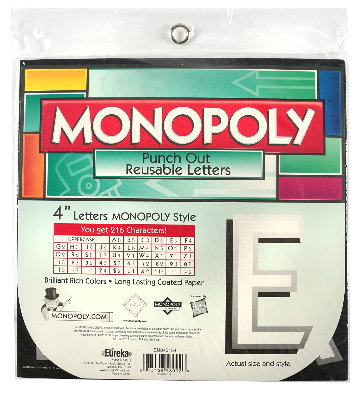 Eureka Back to School Monopoly Punch Out Deco Letters Classroom Decorations, 212pc, 4''