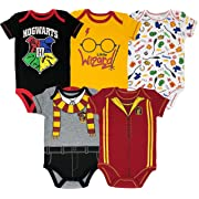 Warner Bros Harry Potter Baby Boys' 5-Pack Bodysuits Hogwarts Gryffindor (12 Months)