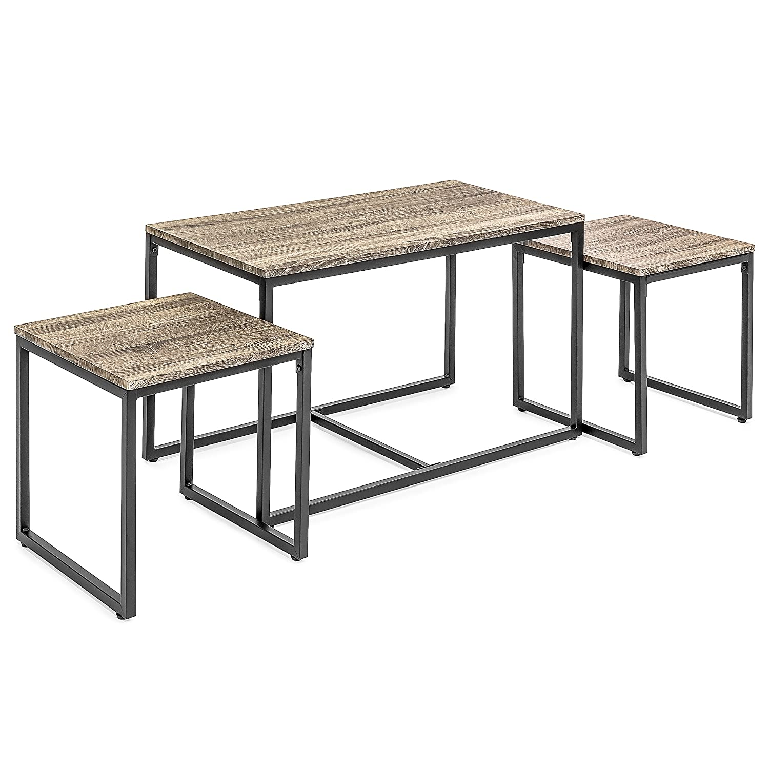 Amazon com best choice products 3 piece modern lightweight nesting coffee accent table living room furniture lounge set w 2 end tables brown kitchen