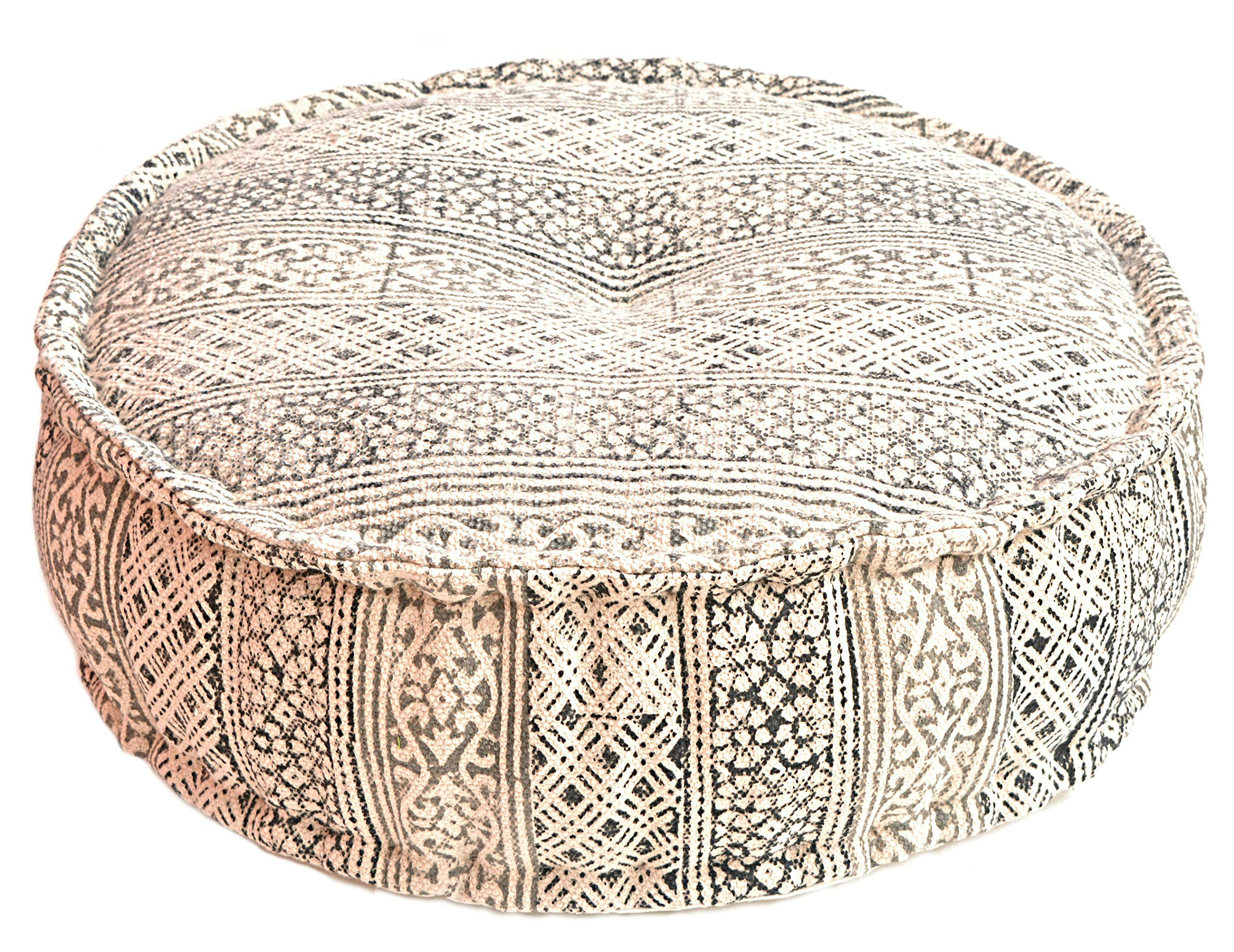 MARUDHARA Kilim Durry Cloth Stuffed Pouf 24''X8'', Round Pouf, Dhurrie Pouffe, Ottoman Extra Sitting, Floor Cushion, Foot Stool by MARUDHARA