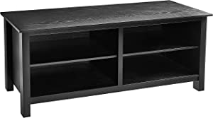 "Rockpoint Plymouth Wood TV Stand Storage Console, 58"", Midnight Black"