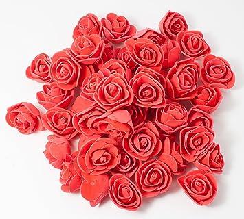 Missbirdler Rosenkopfe 50 Stuck Deko Rosen Rot Foamrosen Kunstrosen Schaumrosen Rosenblatter Kunstliche Blumen Streudeko Tischdeko Basteln Nahen