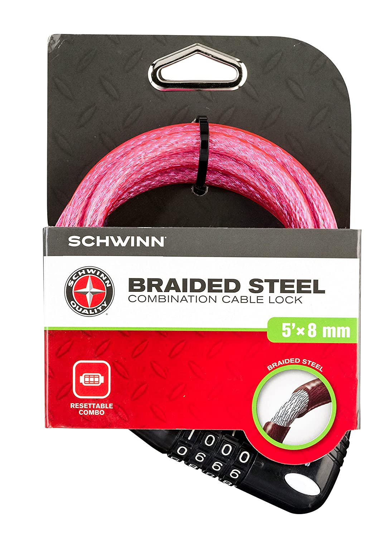Schwinn SW77862-3 Coil Combo Lock 5-Feet x 8mm Pink
