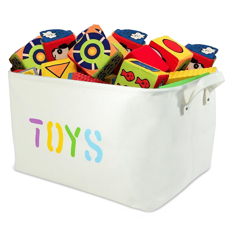 Amazon.com: OrganizerLogic Canvas Storage Basket   Large Storage Bin With  Handles   Decorative Storage Containers In Beige   17u201d X 13u201d X 10u201d Woven  Fabric ...