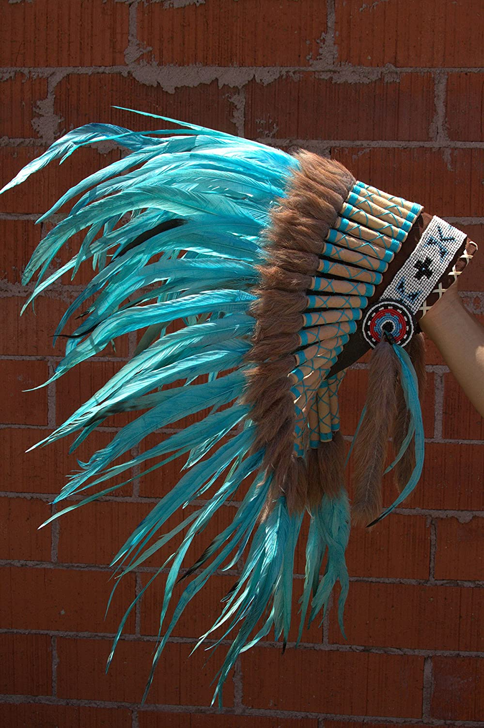 ADJUSTABLE Extra Long Native American Indian Inspired Headdress Electric