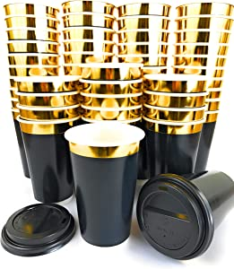 Gold Rim 16oz Double Wall Coffee Cups 40pcs + 10pcs BONUS - Disposable Paper Cup with Lids - Insulated black design to go for hot beverage - Multi-purpose Leak Proof Container – ELEGANT GOLD DESIGN