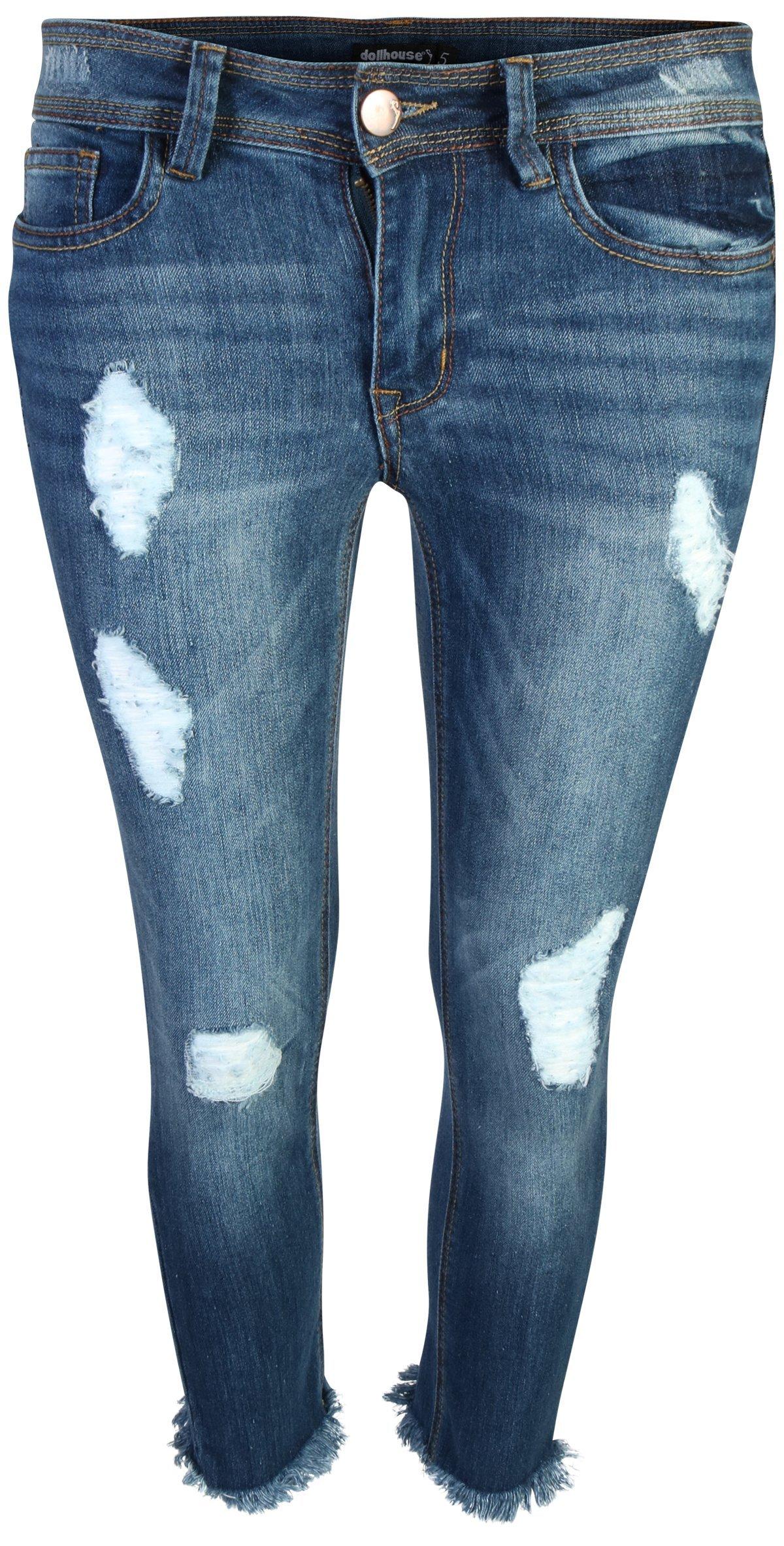 dollhouse Women's Distressed Stretch Frayed Hem Skinny Capri Jeans, Dark, Size 14'