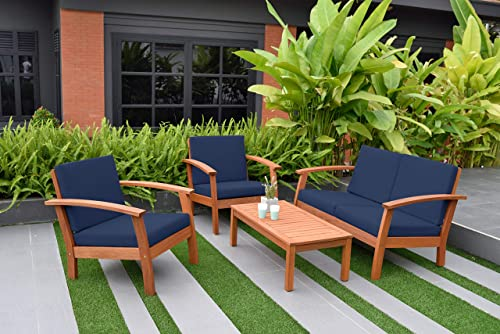 Amazonia Prescott Patio 4-Piece Conversation Set | Durable Eucalyptus