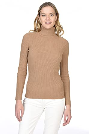 ecf2e923cf3d48 State Cashmere Women's 100% Pure Cashmere Long Sleeve Pullover Ribbed  Turtleneck Sweater
