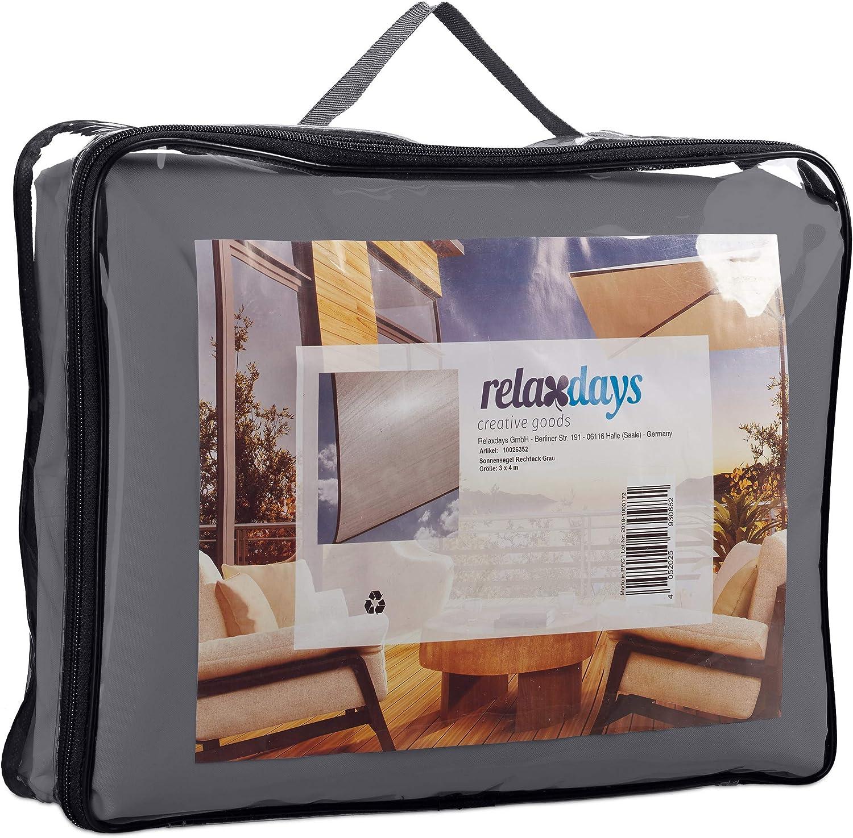Relaxdays Tenda a Vela Rettangolare Impermeabile Anti UV LxP: 4x6 m Terrazza e Giardino Grigia 4 x 6 m Corde di Supporto