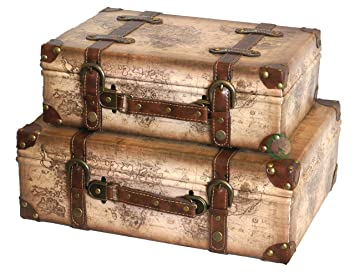 Vintiquewise Old World Map Leather Vintage Style Suitcase with ...