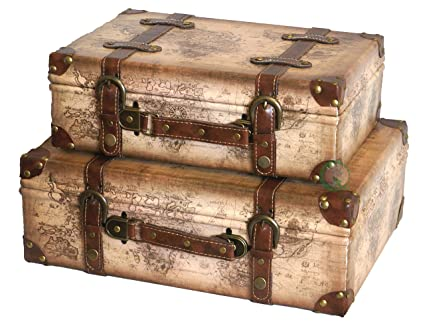 Amazon vintiquewise tm old world map leather vintage style vintiquewise tm old world map leather vintage style suitcase with straps set of 2 gumiabroncs Gallery