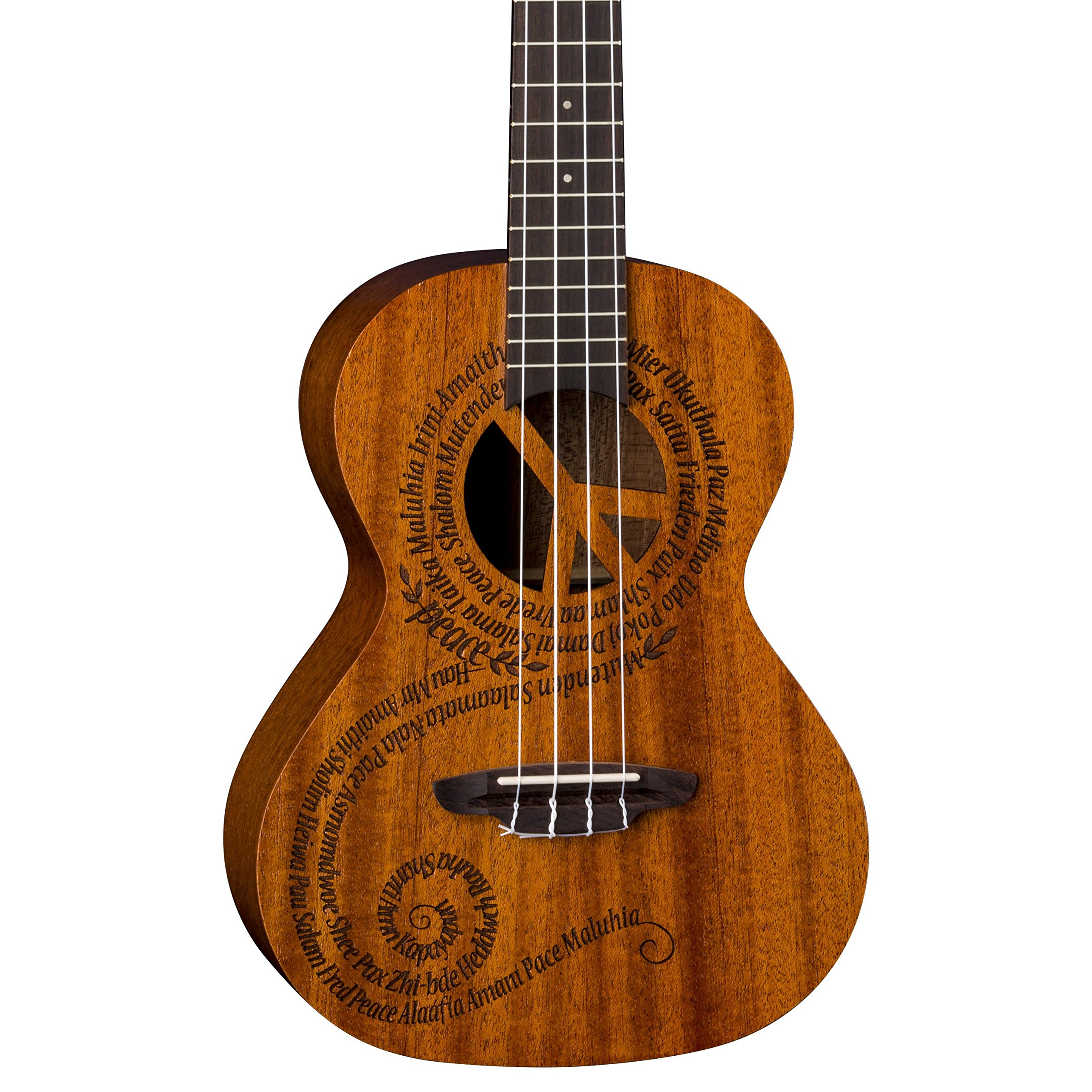 Luna Maluhia Peace Tenor Ukulele with Gig Bag, Satin Natural by Luna Guitars