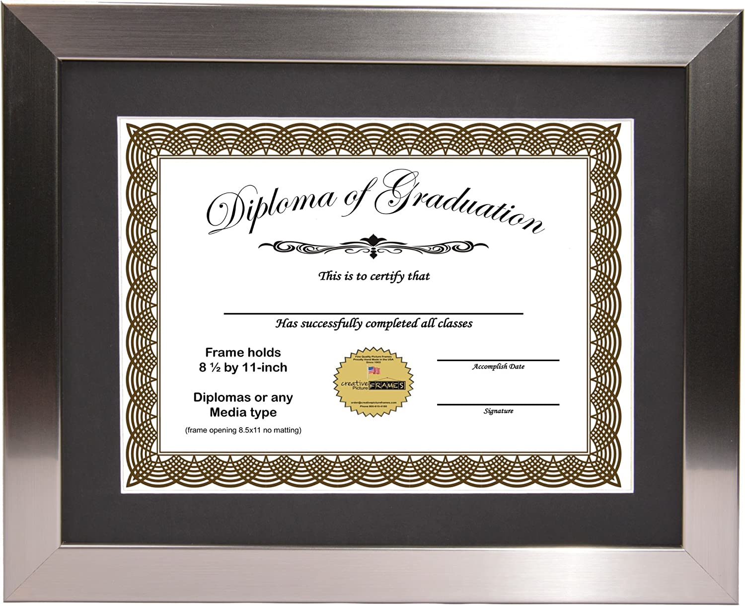 Mahogany Document Frame Display 8.5 by 11-inch with Mat o 11x14mh-w CreativePF
