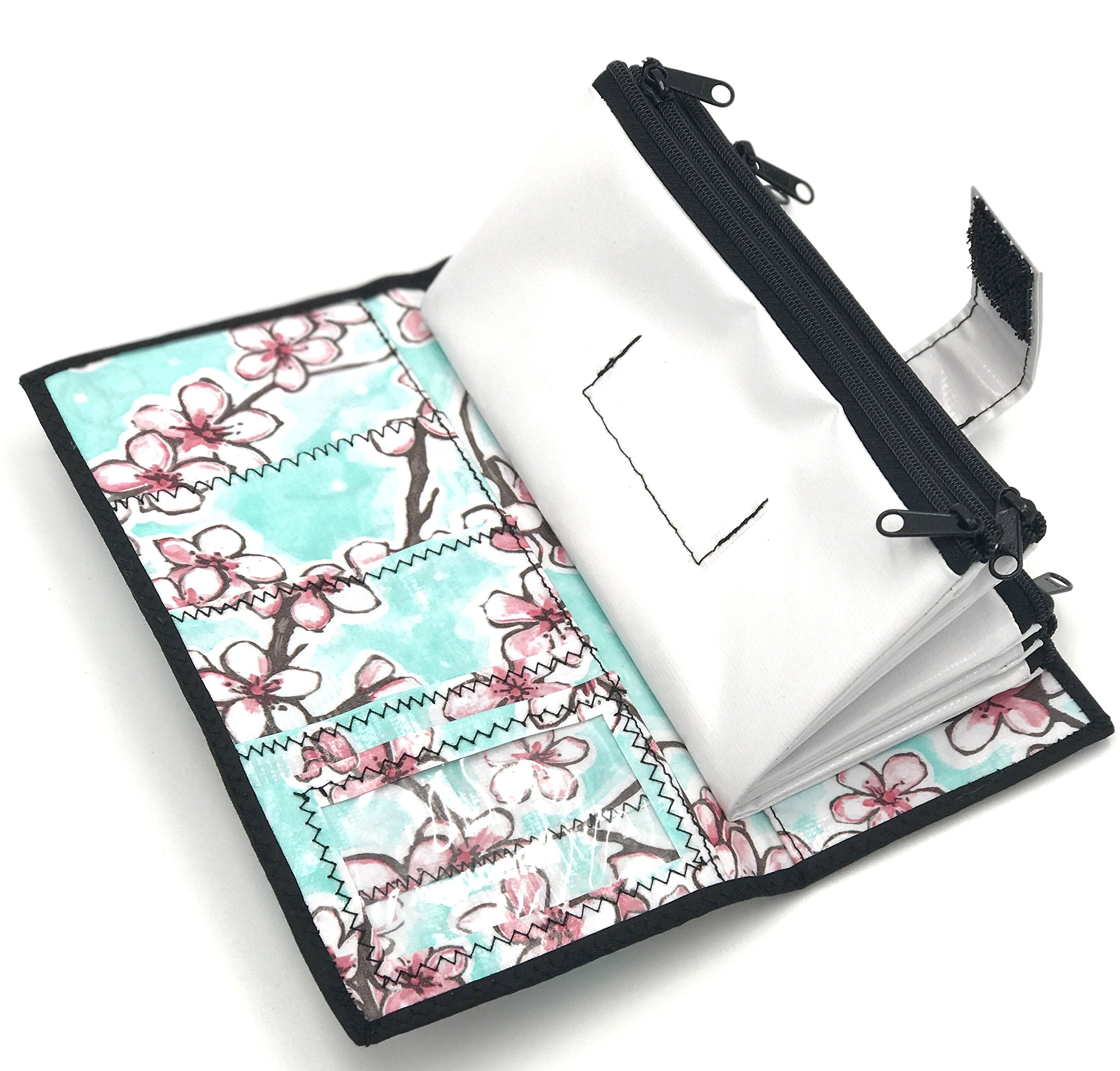 Cute White Floral Oilcloth Envelope System Wallet for Cash Budgeting and Extreme Couponing