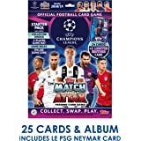 Topps 2018-19 Match Attax Champions League Cards - Starter Pack (Album + 25 Cards & LE Gold Neymar Card) Look for Superstars Messi, Ronaldo, Mbappe, Neymar, Pogba, Salah, Pulisic & More!