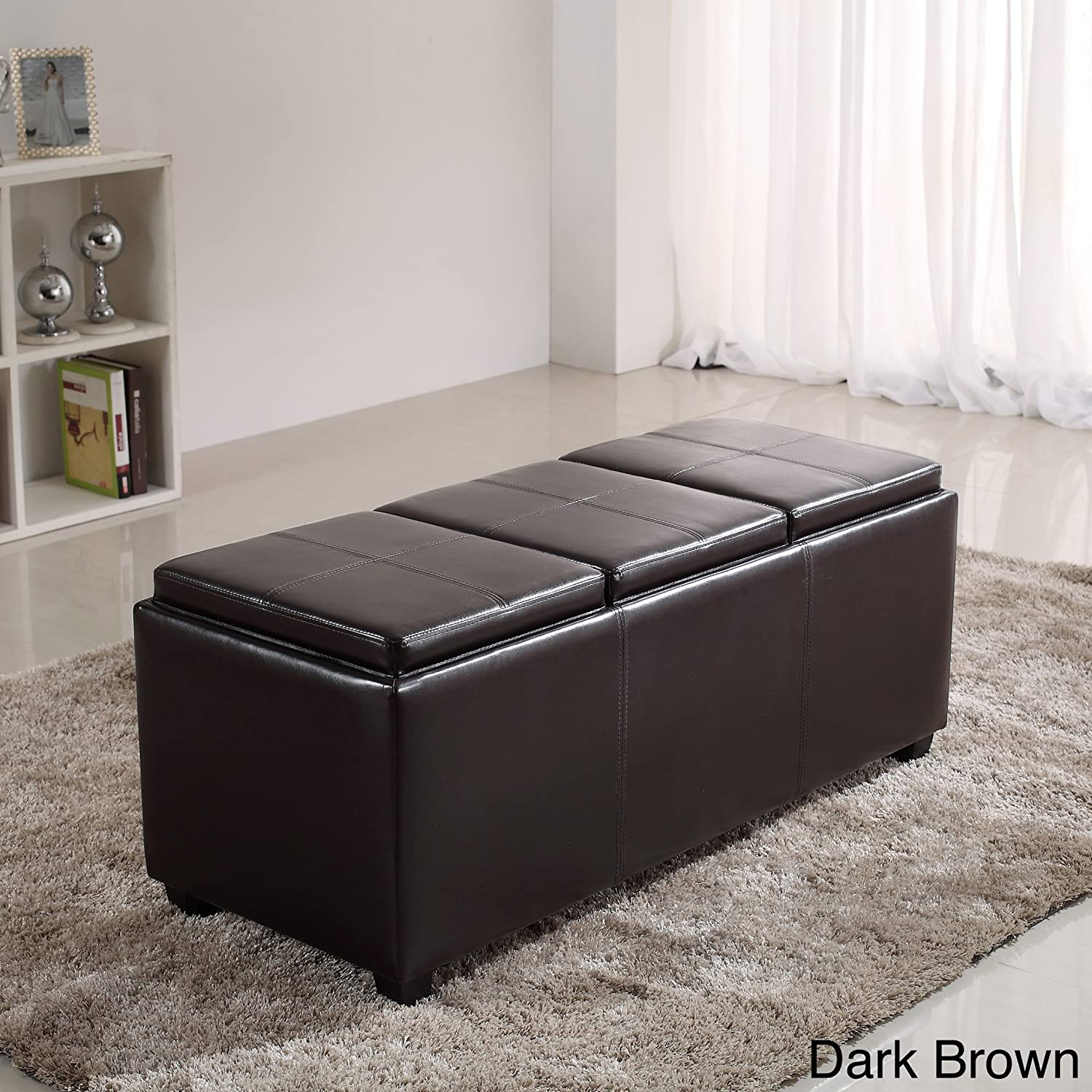 Superb Amazon.com: Metro Shop Franklin Extra Large Rectangular Faux Leather Storage  Ottoman With 3 Serving Trays Black: Kitchen U0026 Dining
