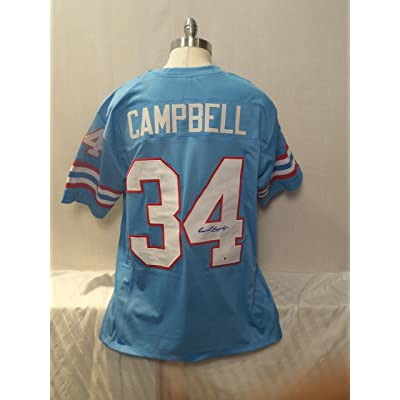 info for e9f98 1b0fd Earl Campbell Signed Houston Oilers Blue Autographed Jersey ...