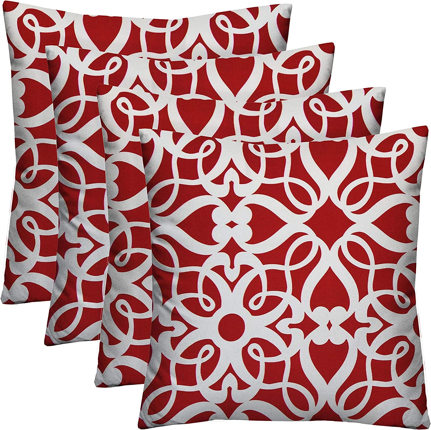 RSH D cor Set of 4 Indoor Outdoor Square Throw Toss Pillows Red and White Scrolling Hearts