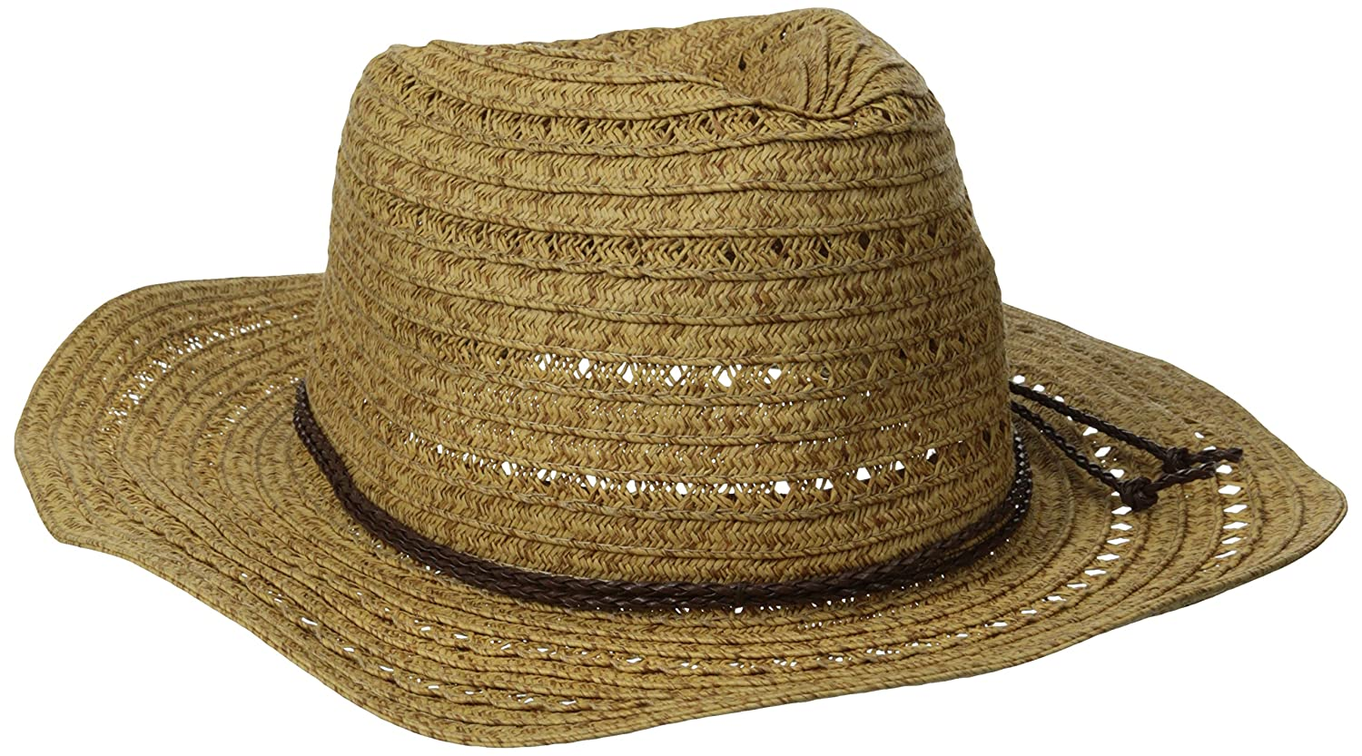 San Diego Hat Company Womens Open Weave Cowboy Hat with Braided Trim Natural One Size pbc1034
