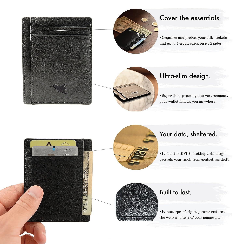 63001ece3b Porta carte sottile di Nomalite   Portafoglio nero da tasca per carta di  credito e fedelta (4 aperture) e banconote (1 tasca). Slim card wallet in  pelle ...