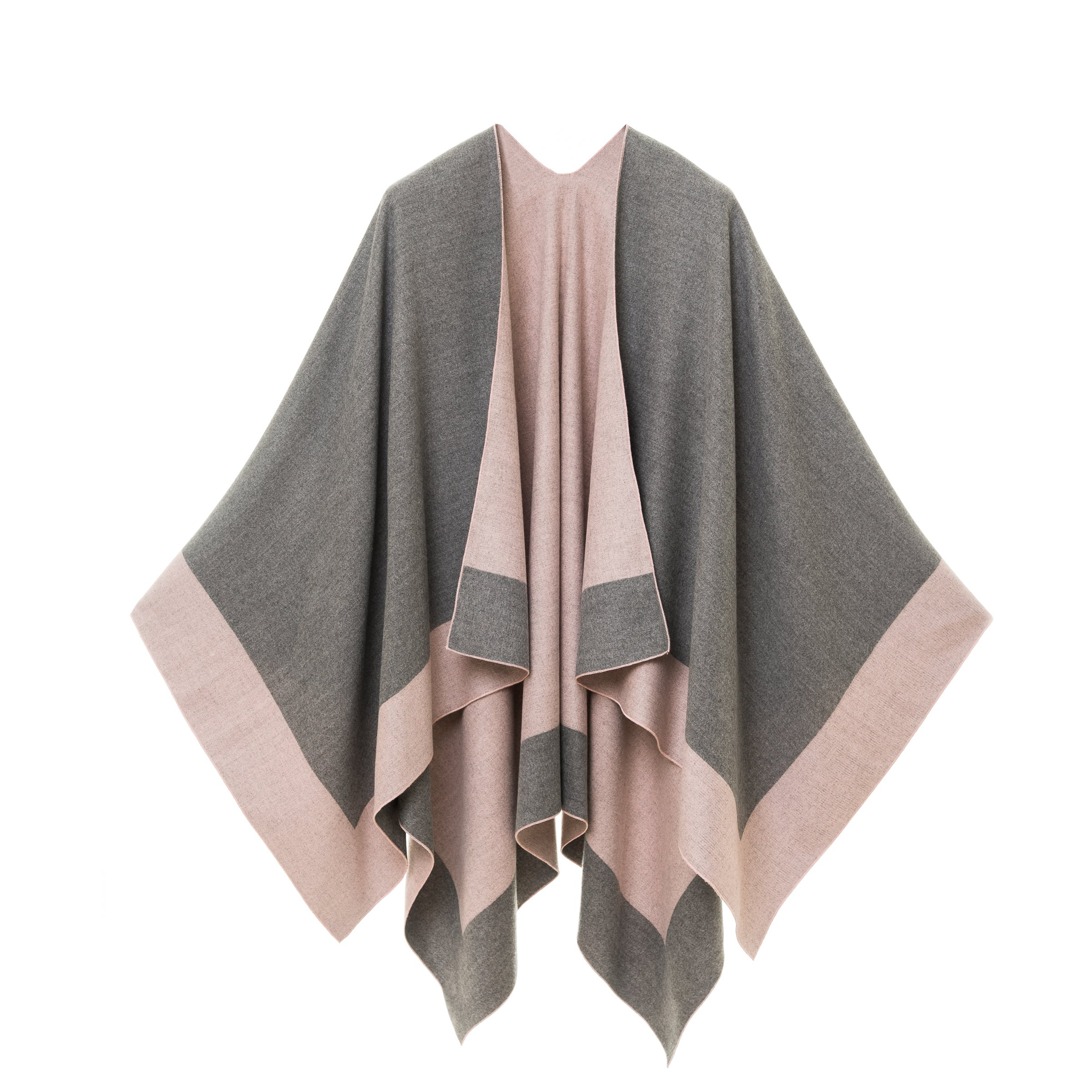 Cardigan Poncho Cape: Women Elegant Pink Gray Cardigan Shawl Wrap Sweater Coat for Winter (Gray Pink)