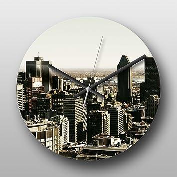 Reloj de pared Montreal Canada Skyline No. 1 - reloj de cuarzo grande impreso Circular, ...